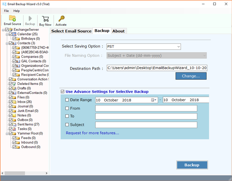 Export mailbox to PST Exchange 2010 date range