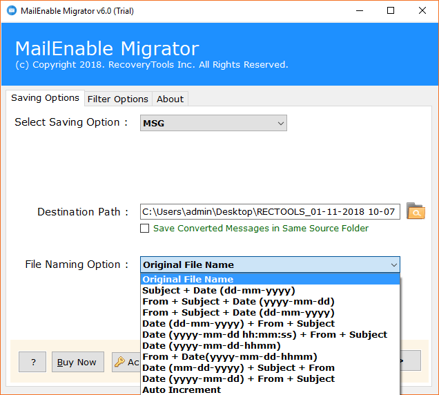 mailenable file naming options