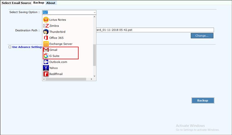 Gmail G suite option