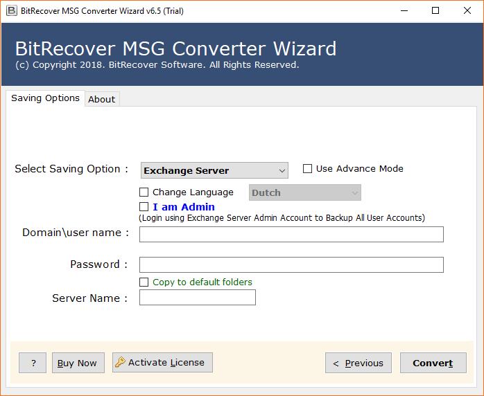 MSG to Exchange Server Migrator