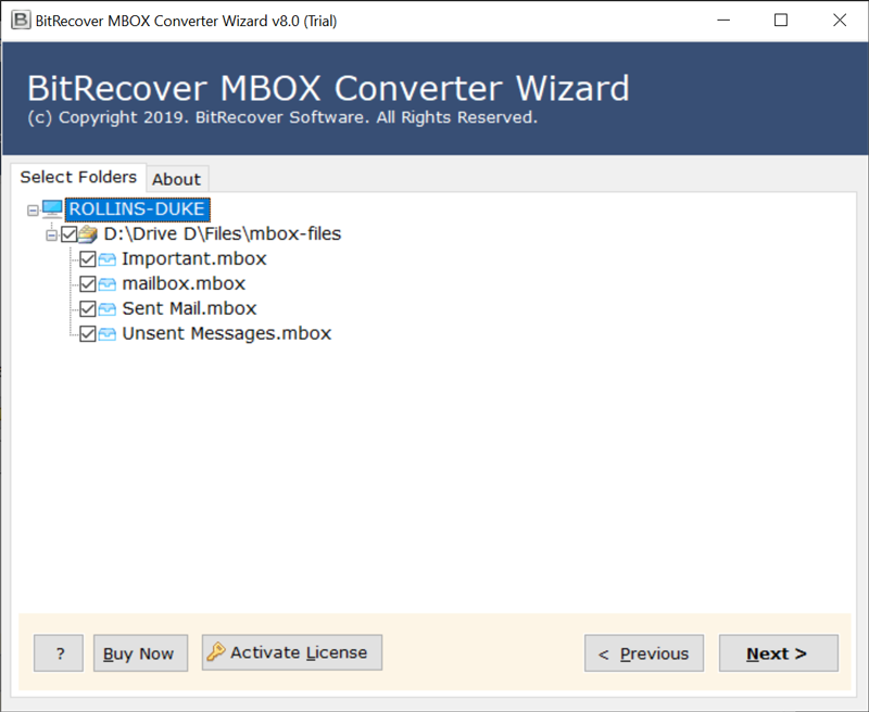 Select MBOX files