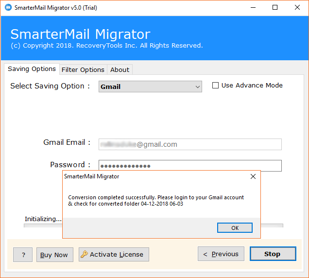 SmarterMail to Gmail uploading