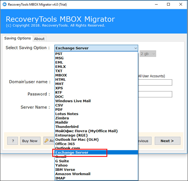 select-exchange-server