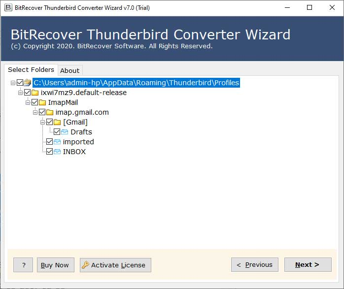 Select Thunderbird profile folders