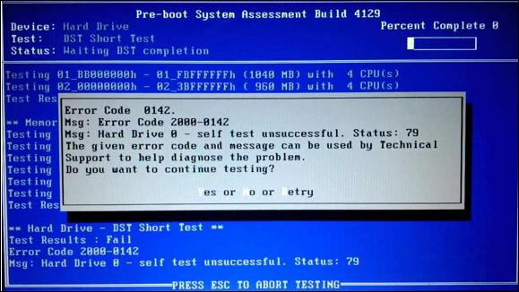 Hard Drive Short Disk Self-Test error