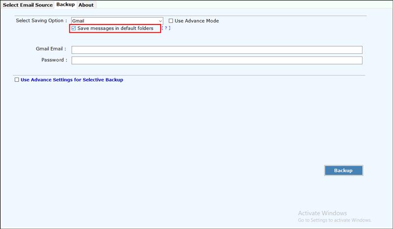 emails in default folder