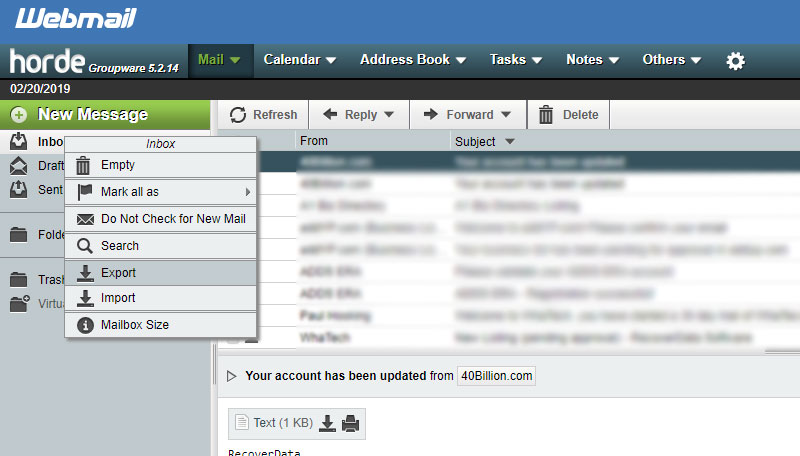 click-on-export-horde-emails