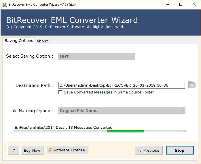 EML files to MHT migration