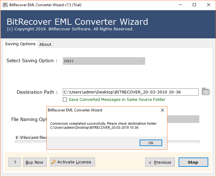 EML to MHTML conversion