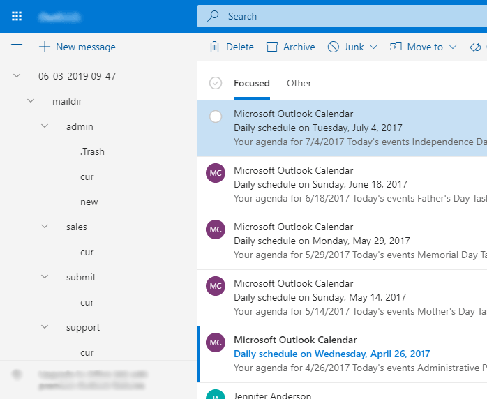 imported Maildir files into Office 365