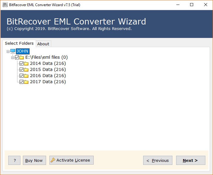 Select email folders
