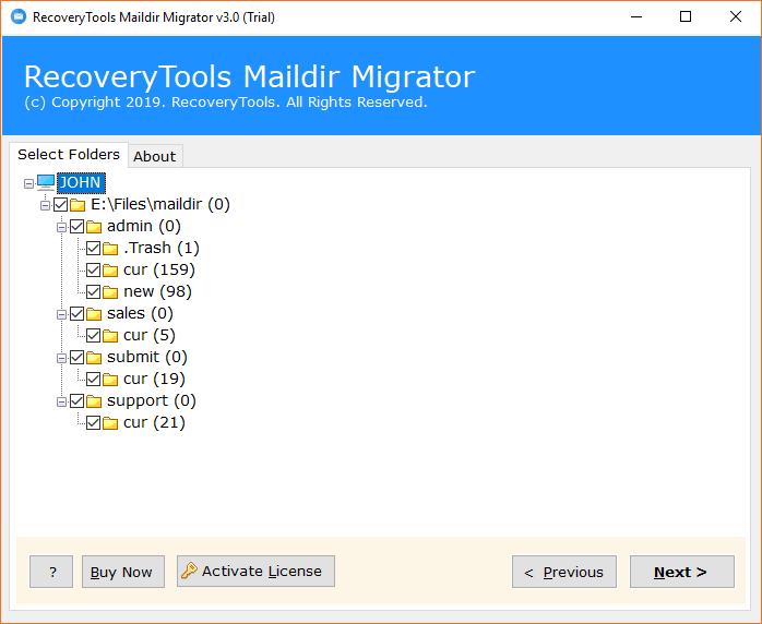 Select Maildir folders
