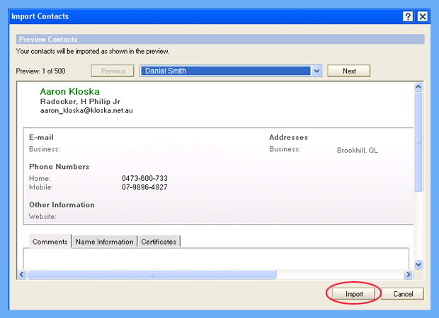 import contacts from excel to lotus notes