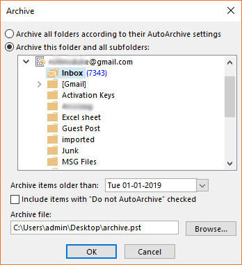 archive Outlook folder to PST