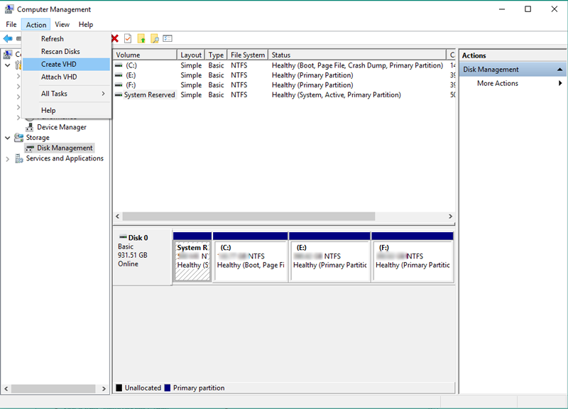 How to Create VHD in Windows – Mount / Detach VHD or VHDX file in