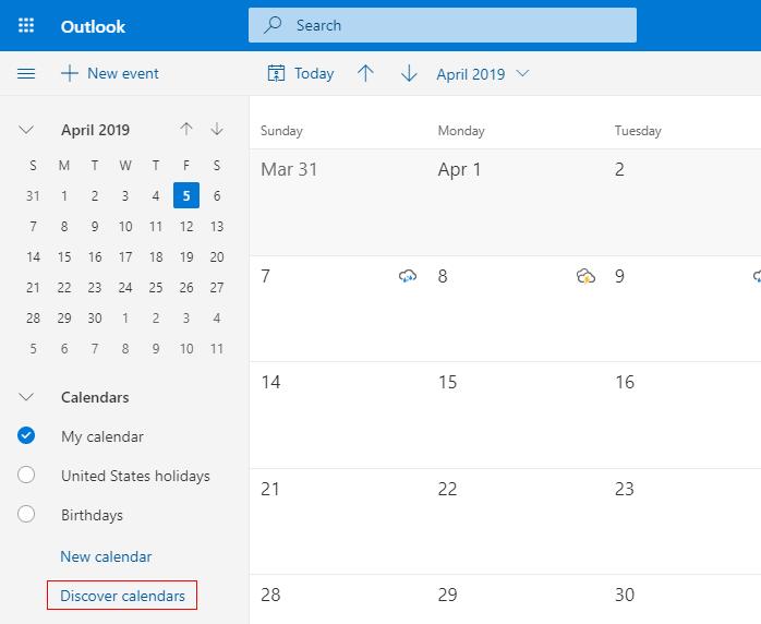 Discover calendars