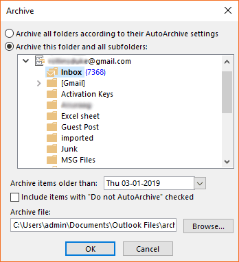 Outlook inbox to archive
