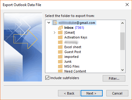 specific email folder