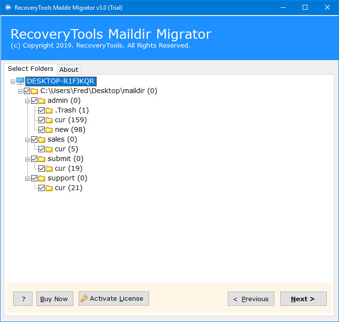 migrate maildir emails