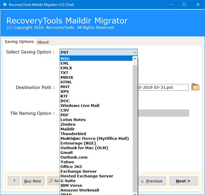 form maildir migration software choose option