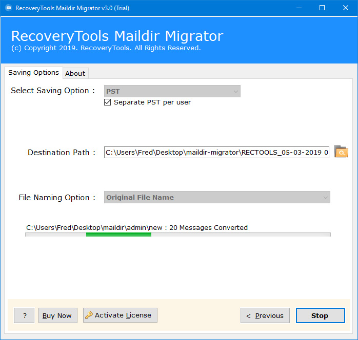 dovecot maildir files migration process started