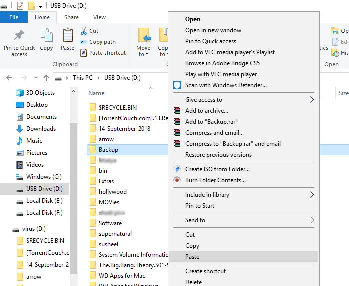 USB drive folder