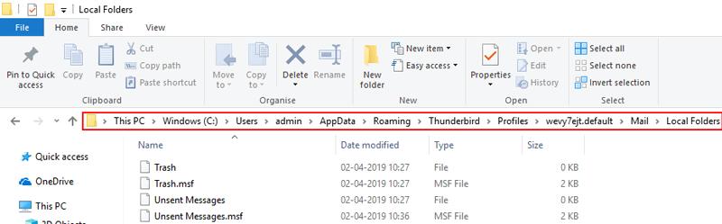 where are thunderbird local folders stored