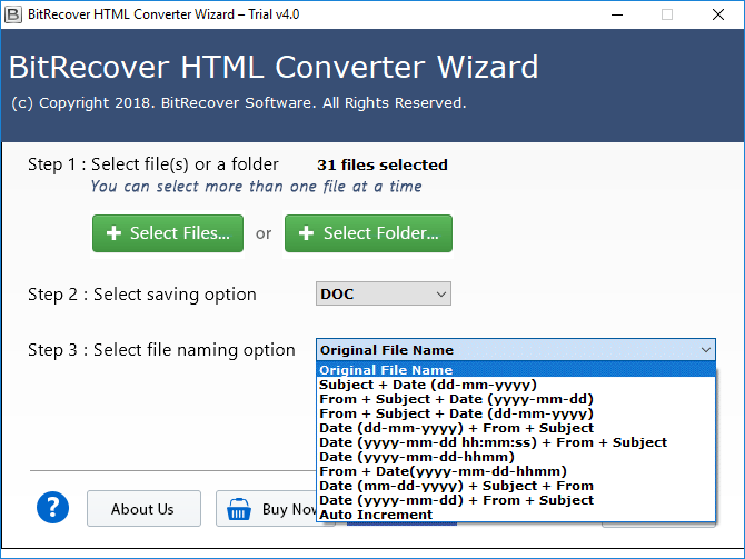 convert html to doc