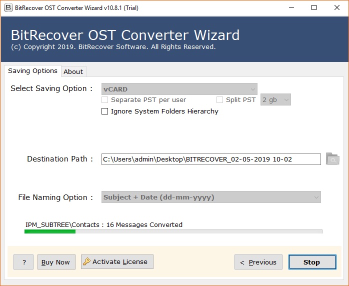 OST to vCard conversion