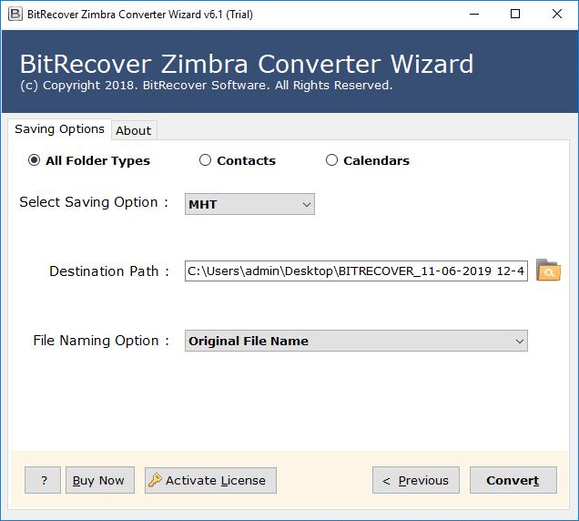 convert zimbra to mht