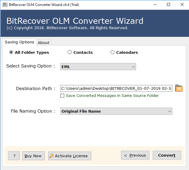 convert olm to eml format