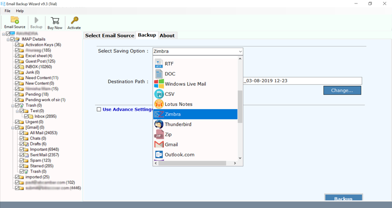 Choose Roundcube email folders