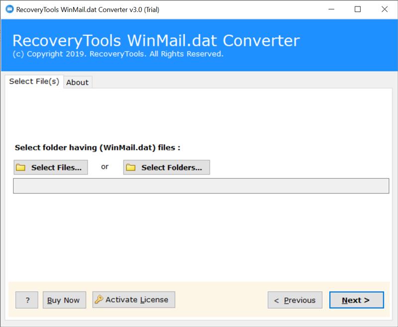 Run Winmail.dat to EML Converter