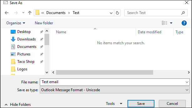 save as msg option in Outlook