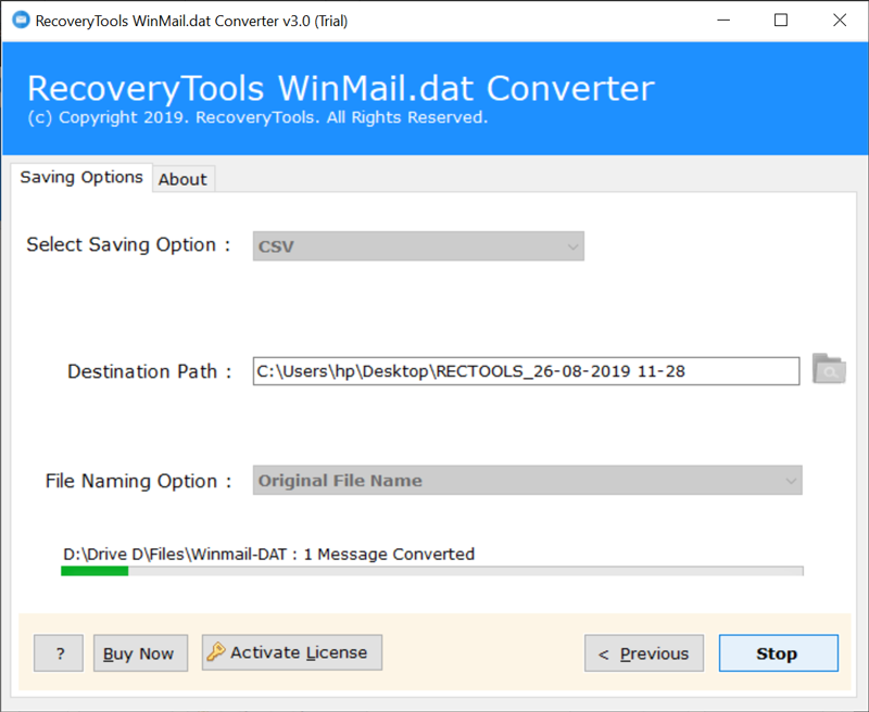 Winmail.dat to CSV conversion