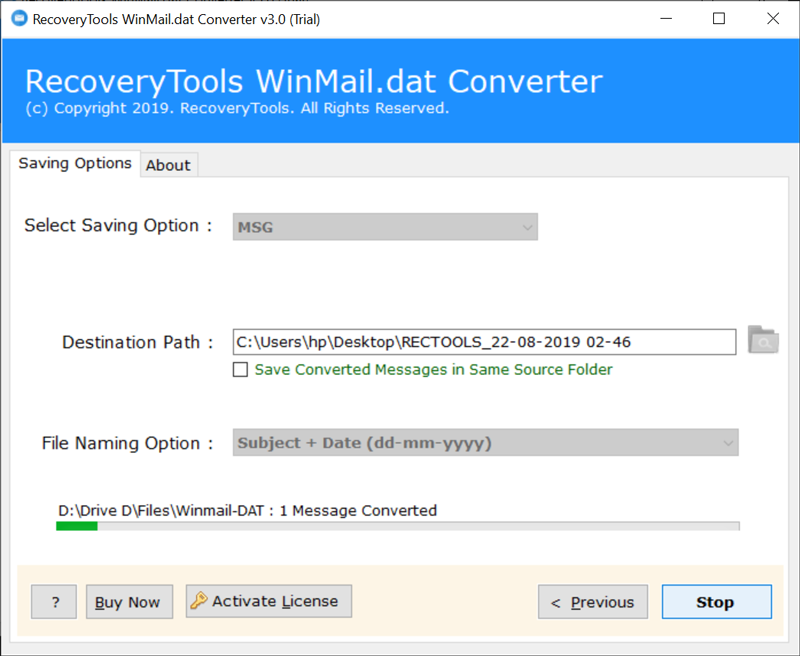Winmail.dat to Outlook message