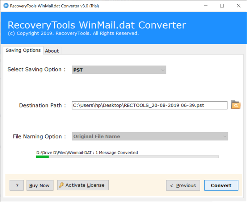 Winmail.dat to Outlook PST conversion