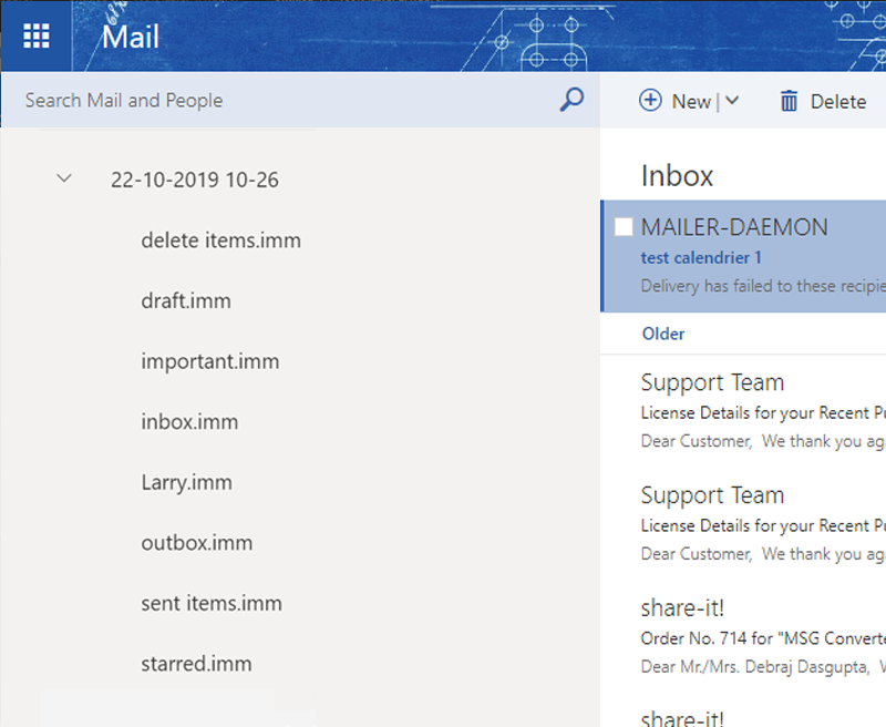 imported IncrediMail emails
