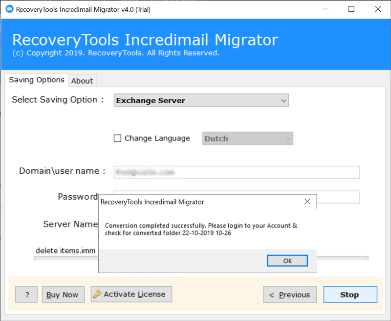 IncrediMail to Hosted Exchange Server conversion