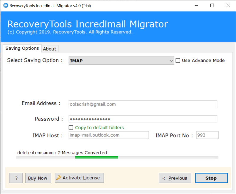 IncrediMail to IMAP migration