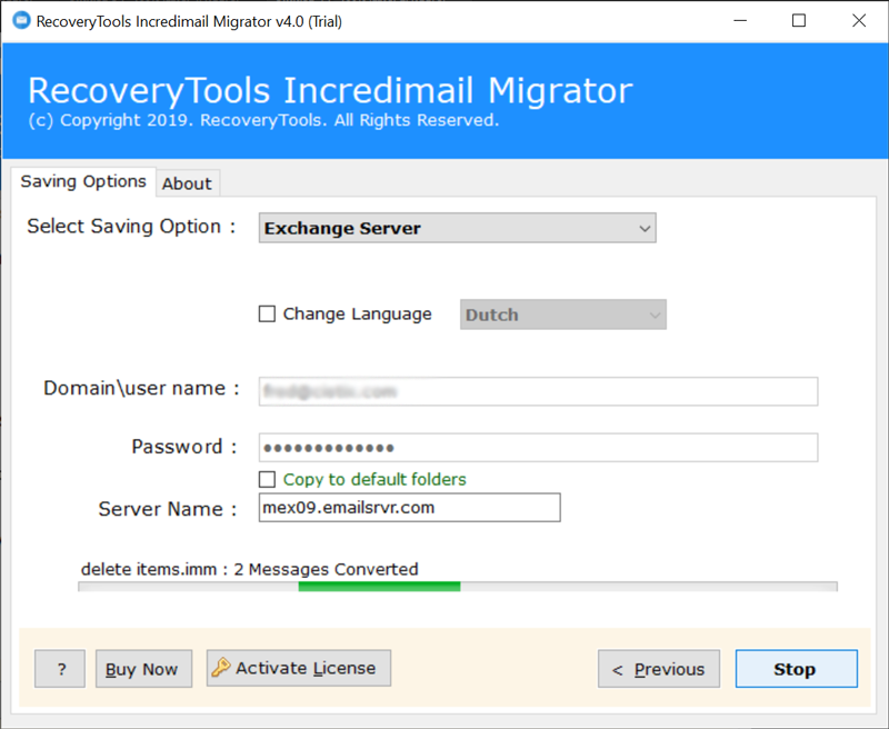 IncrediMail to MS Exchange migration