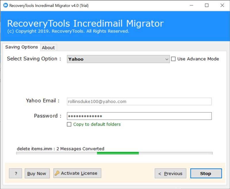 IncrediMail to Yahoo Mail migration