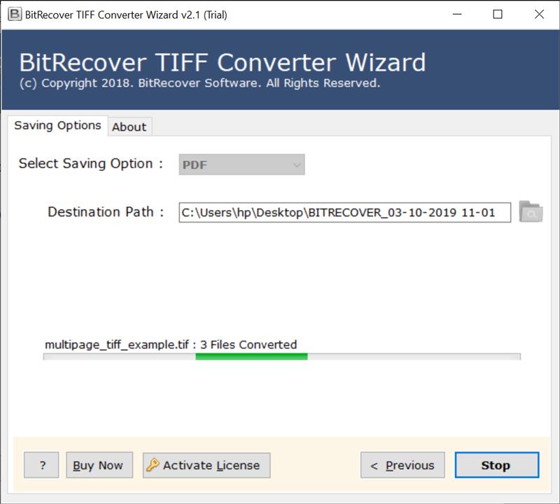 Multi page TIFF file to PDF conversion