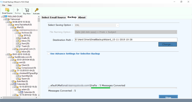 Archiving emails to an external hard disk