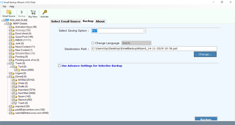 bell email to outlook pst