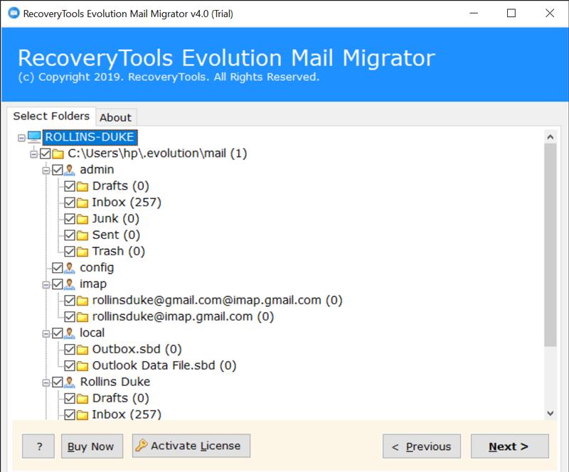 Check desired Evolution Mail folders