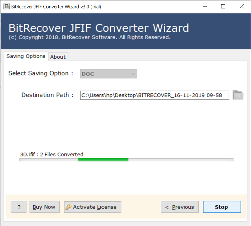 JFIF images to DOC conversion