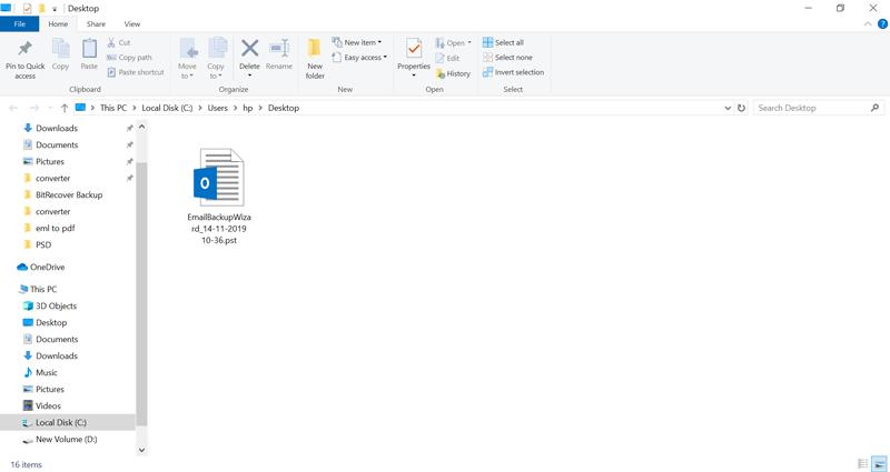 resultant data in PST format
