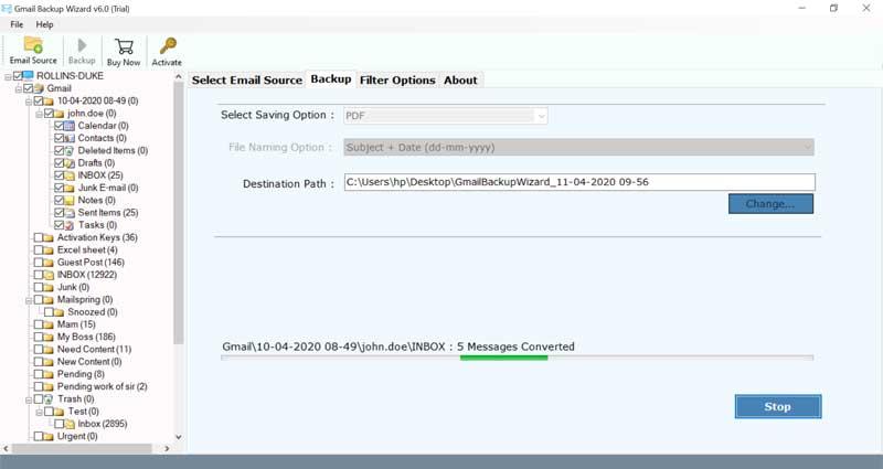 convert Gmail to PDF