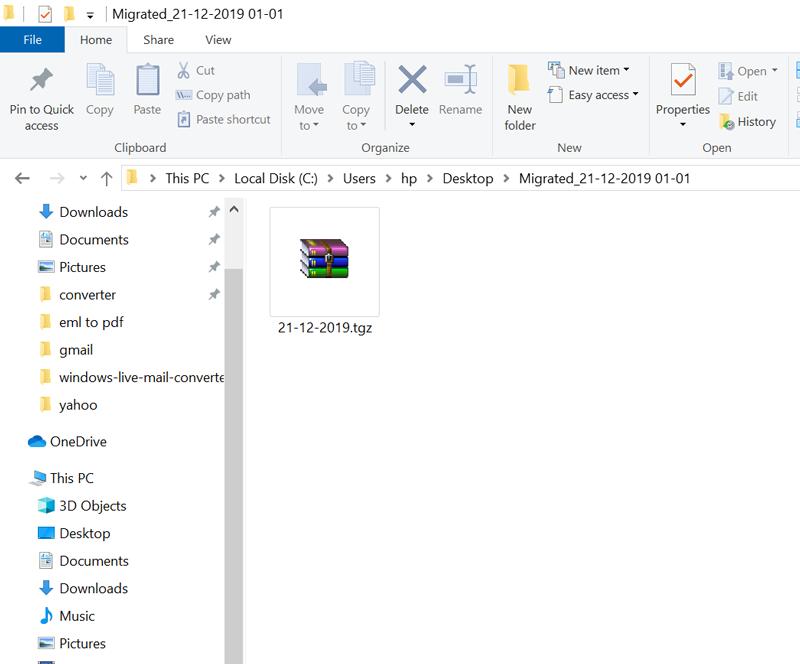 resulting TGZ file